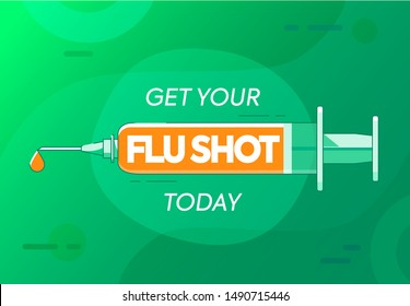 Get flu shot today because winter is coming. Vaccine injection or syringe symbol. Pharmacy jab background. Bright vibrant green vector illustration with lines for medical design.