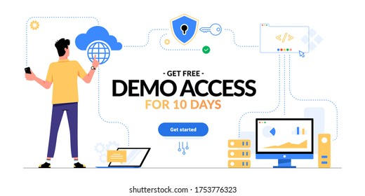 Get free demo access to SaaS, PaaS or IaaS promotional advertising banner. Man looking on cloud computing services scheme and get started CTA button isolated on white. Optimization of business process