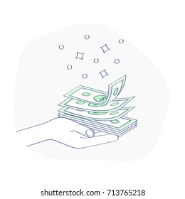 Get or give Money, cash in human hand. Concept of Gift, Profit, Earnings, Salary, Wages, Payment. Flat line vector illustration for web and mobile design.