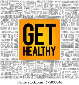 Get Healthy word cloud background, health concept