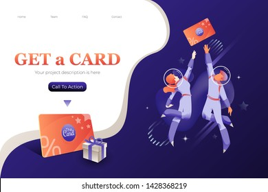 Get loyalty card. Web banner template for businesses loyalty programs. Vector metaphoric illustration of customers in space suits jumping to the card.