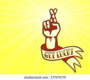 Get Lucky and Stay Optimistic: cool tattoo design of hand with crossed fingers