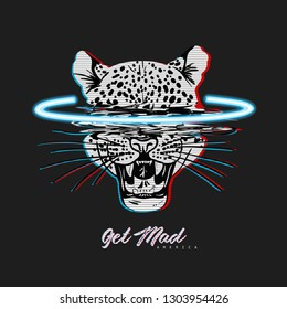 Get mad America slogan with neon leopard head. Typography graphic print, fashion drawing for t shirt