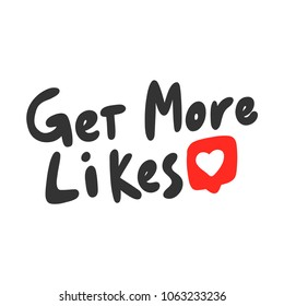 Get more likes. Sticker set for social media post. Vector hand drawn illustration design. Bubble pop art comic doodle sketch style poster, t shirt print, card, blogging video cover