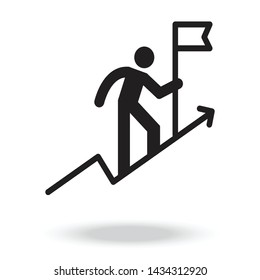 get on top, climb a mountain icon vector. successful ,win