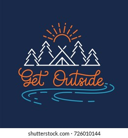 Get outside. Camping in the mountains. Colorful illustration with lettering elements.