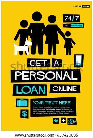 get personal loan online poster flat stock vector royalty free