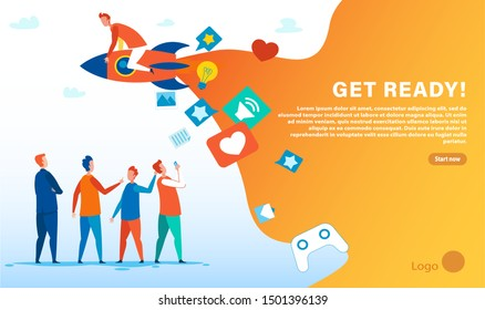 Get Ready Motivate WOM Marketing Landing Page. Cartoon People Group and Team Leader on Rocket. Social Network. Vector Advertising Banner with Place for Company Logo and Action Button Illustration