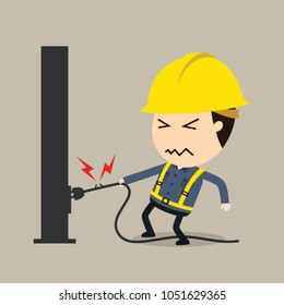 Get shocked, Vector illustration, Safety and accident, Industrial safety cartoon, Electric shock