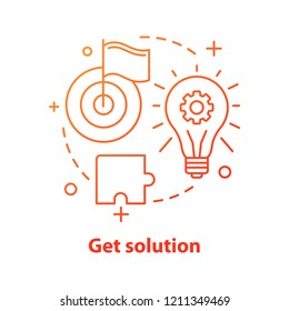 Get solution concept icon. Solve problem idea thin line illustration. Insight. Achievement. Vector isolated outline drawing