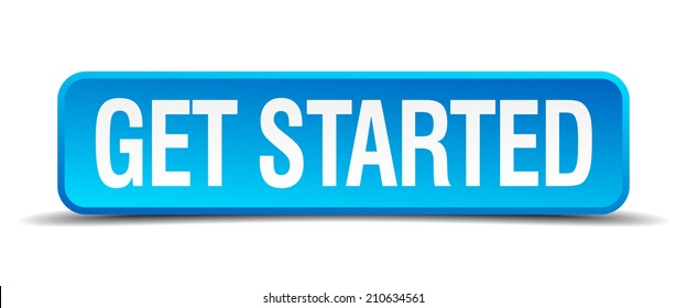 get started blue 3d realistic square isolated button