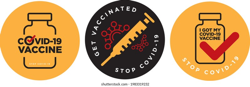 Get vaccinated to stop Covid-19 signage icon