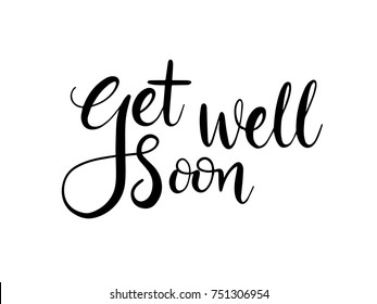 Get well soon Calligraphy Hand Lettering Vector