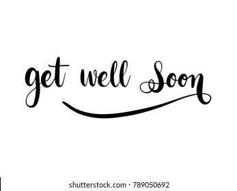 Get Well Soon Calligraphy Hand Lettering Vector.