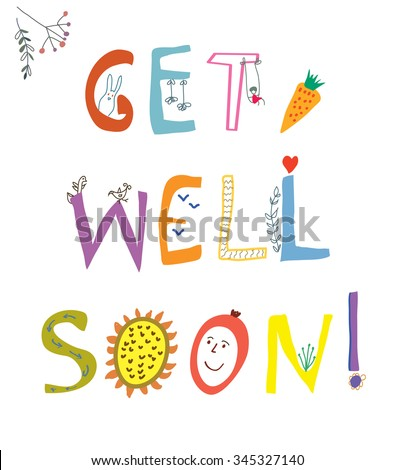 Get Well Soon Card Funny Lettering Stock Vector Royalty Free