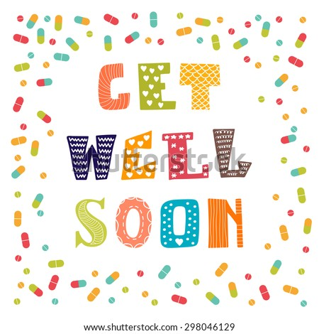 Get well soon card pills greeting stock vector royalty free get well soon card with pills greeting card vector illustration m4hsunfo