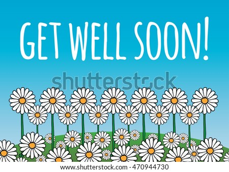 get well soon cardposter contains daisy stock vector royalty free