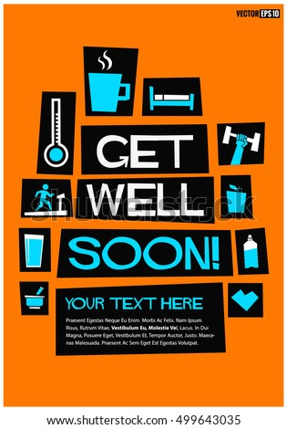 get well soon flat style vector stock vector royalty free