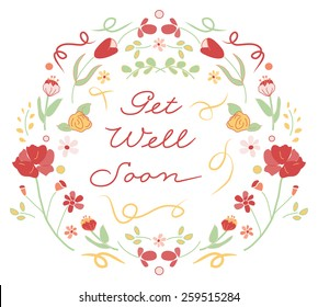 Get Well Soon Floral Wreath Greeting - Vector