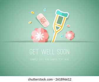 Get Well Soon Paper Cut card with Flowers and medical elements