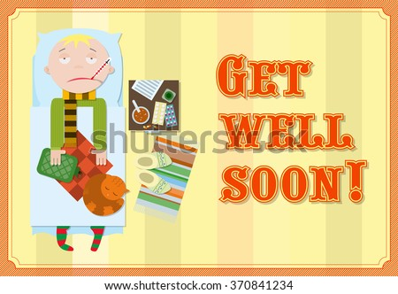 get well soon sick man bed stock vector royalty free 370841234