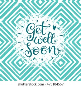 Get well soon vector text. Hand Lettering for invitation and greeting card, prints and posters. Modern calligraphic design