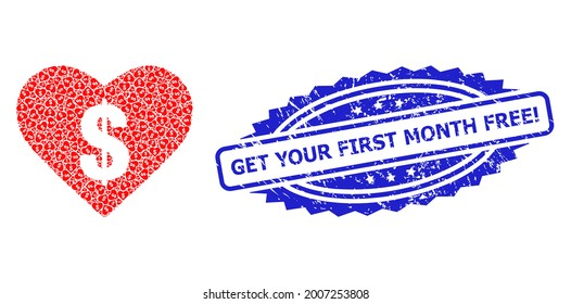 Get Your First Month Free Exclamation textured stamp and vector recursive collage love price. Blue stamp seal contains Get Your First Month Free Exclamation text inside rosette.
