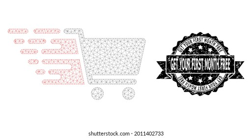 Get Your First Month Free rubber seal print and vector supermarket cart mesh model. Black stamp seal contains Get Your First Month Free caption inside ribbon and rosette.