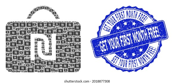 Get Your First Month Free Exclamation corroded round seal and vector recursion mosaic shekel case. Blue seal contains Get Your First Month Free Exclamation text inside round shape.