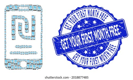 Get Your First Month Free grunge round stamp seal and vector fractal collage shekel mobile account. Blue stamp has Get Your First Month Free tag inside round shape.