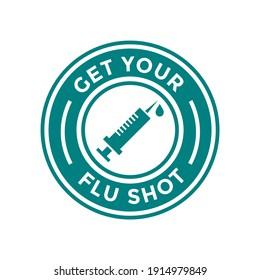 Get your flu shot vector badge or label. This design use injection symbol. Suitable for immunization.