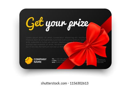 Get your prize. Black Gift card template with realistic red bow. Certificate, coupon, flyer design. Discount card for shop or boutique. Vector illustration