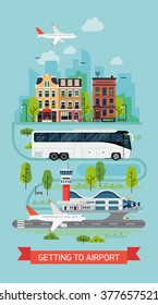 Getting to airport on bus shuttle vector illustration with lovely detailed cityscape town street with houses and trees, tramway train and airport terminal with runway and plane taking off or landing