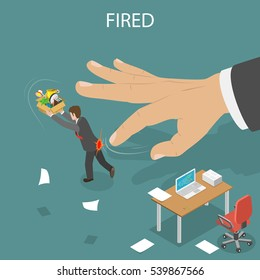 Getting fired isometric flat vector illustration. Boss' hand fillip on the employee to push him out of the office. Dismissed, loss job.