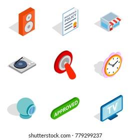 Getting information icons set. Isometric set of 9 getting information vector icons for web isolated on white background
