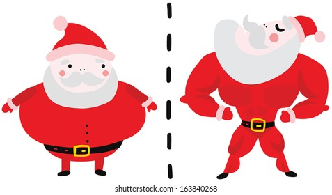 Getting Into Shape After Holidays: Fat and Fit Santa