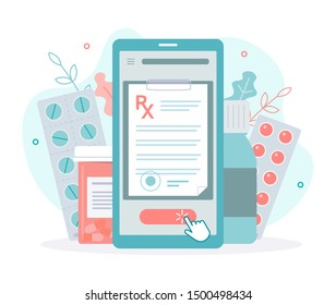 Getting a medical prescription online in one click from your smartphone. Medical concept. Flat vector illustration.