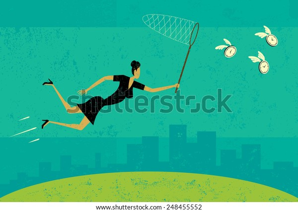 Getting more time A businesswoman trying to get more time with a butterfly net. The woman and background are on separate labeled layers.