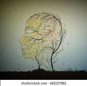 getting older concept, woman age decease idea, skin is getting old, face of autumn, human face profile building from small colored leaves and tree branch growing on soil, vector,
