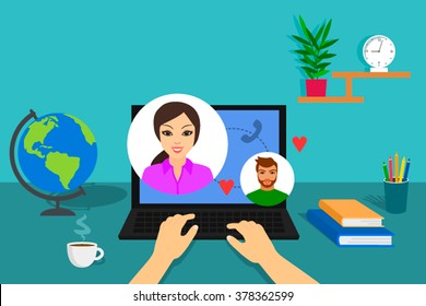Getting on the internet. The marriage swindler. Flat vector illustration. Communication on Skype between people in love