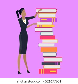 Getting on top of knowledge vector concept. Flat design. Woman character in business clothes standing near huge pile of books. Self-education and literature reading concept. On violet background.