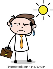 Getting Tired in Summer - Office Businessman Employee Cartoon Vector Illustration