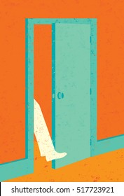 Getting your foot in the door A businessman getting his foot in the door to new opportunity.