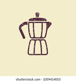 Geyser coffee maker. Flat vector icon in grunge style