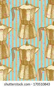 Geyser coffee maker, vector seamless pattern