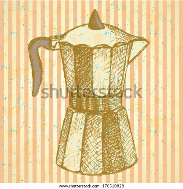 Geyser coffee maker, vector sketch background