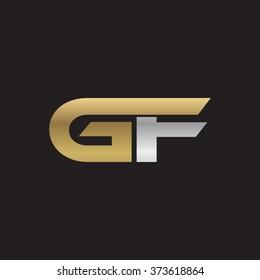 GF company linked letter logo golden silver black background