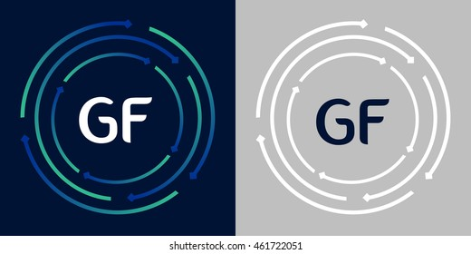 GF design template elements in abstract background logo, design identity in circle, letters business logo icon, blue/green alphabet letters, simplicity graphics