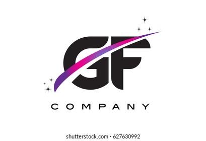 GF G F Black Letter Logo Design with Purple Magenta Swoosh and Stars.