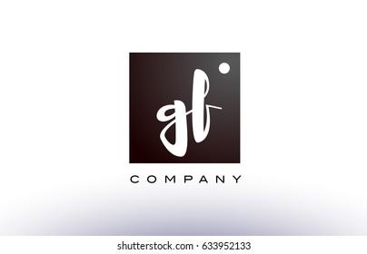 GF G F black white handwritten handwriting alphabet company letter logo square design template dot dots creative abstract